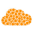 cloud mosaic of filled hexagon icons vector image vector image