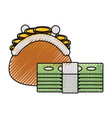 coin purse with money vector image vector image