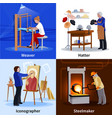 contemporary craftspeople 4 flat icons square vector image