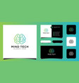creative smart brain technology logo design vector image vector image