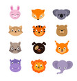 cute baby animal faces set vector image