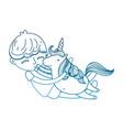 degraded outline happy boy hugging nice unicorn vector image vector image