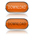 download buttons with metal frame orange oval vector image vector image