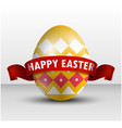 easter yellow egg with red ribbon vector image vector image