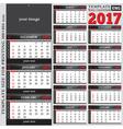 English template wall quarterly calendar 2017 vector image vector image