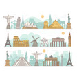 famous international travel landmark banner set vector image