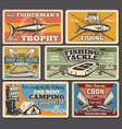 fishery tools and equipment fishing sport vector image vector image