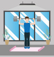 fit man doing exercise vector image