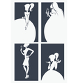 girls silhouettes collection vector image