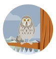 Grey Owl on the winter tree flat background vector image vector image