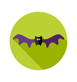 Halloween Bat Flat Icon with big Wings vector image