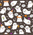 halloween pattern cute little ghosts vector image vector image