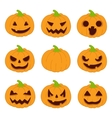 Halloween pumpkins set icons vector image vector image