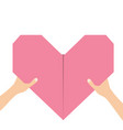 hands arms holding pink origami paper heart icon vector image vector image