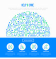 help and care concept in half circle vector image vector image