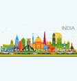 india city skyline with color buildings and blue vector image vector image