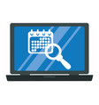 laptop with calendar and speech bubble vector image vector image