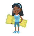 little african girl holding inflatable mattress vector image vector image