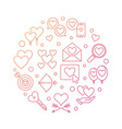 love and feelings round colored outline vector image
