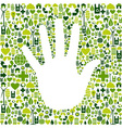 Man hand in green icons vector image vector image