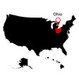 map of the us state of ohio vector image vector image