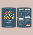 menu template with alcoholic drinks in vector image