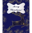 Merry Christmas card with golden deer and vector image