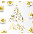 merry christmas golden greeting card xmas tree vector image