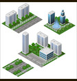 modern city isometric set big office and shop vector image vector image
