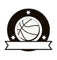 monochrome emblem with basketball ball and ribbon vector image vector image