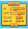 Options menu yellow style game buttons vector image vector image