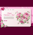 paper cut valentines day landing page vector image