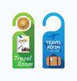 Paper door handle lock hangers concept travel vector image