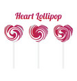 pink heart shape lollipop vector image vector image