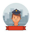 police man face cartoon vector image