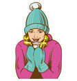 pop art woman drink winter coffee vector image