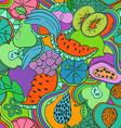 Psychedelic colorful fruit seamless pattern vector image
