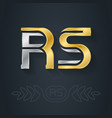 r and s initial gold and silver logo rs vector image vector image