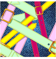 Seamless pattern with colorful belts on the jeans vector image vector image