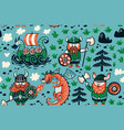 seamless pattern with vikings for design fabric vector image