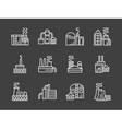 Set of industry plants white line icons vector image vector image