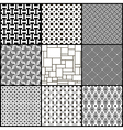 Set of nine black and white geometric seamless vector image vector image