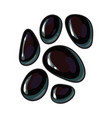 set of shiny black stones for massage spa salon vector image vector image