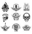 Set rock music emblems isolated on white