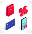 shopping online isometric icons set vector image vector image