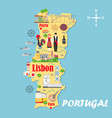 stylized map portugal travel with portuguese vector image vector image