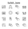 switch icons set in thin line style vector image