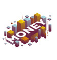 three dimensional word money with abstract color vector image vector image