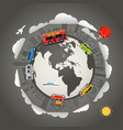 travel around earth vector image vector image