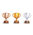 victory award cup set for competitition winners vector image